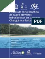Analisis de Costo Beneficio de Cuatro Proyectos Hidroelectricos en La Cuenca Changuinola - Teribe