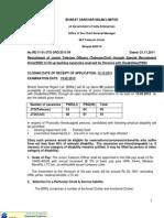 BSNL Recruiting - Jr. Telecom Officers - Last Date 12-Dec-2011