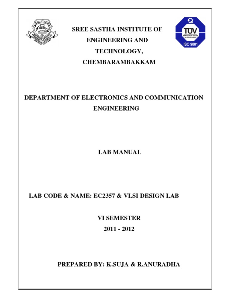 Vlsi Manual | Hardware Description Language | Field Programmable Gate Array