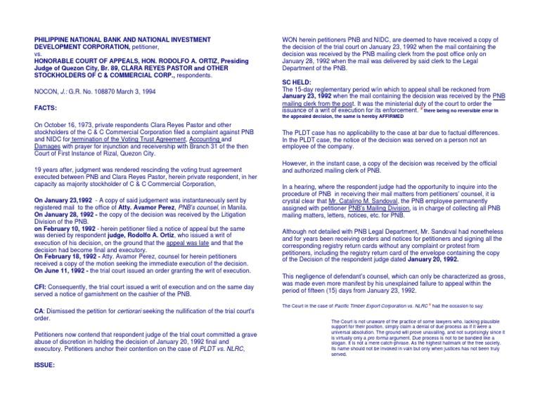 Pnb V Ca Complaint Legal Procedure