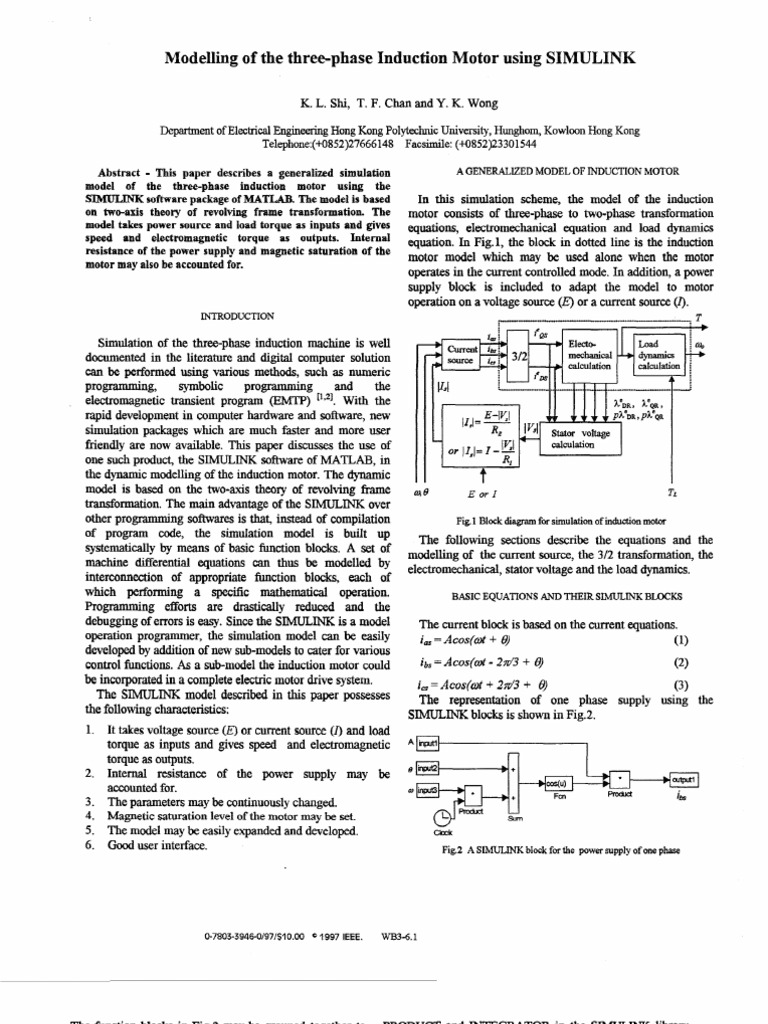 Modelling of the Three-phase Induction Motor Using SIMULINK