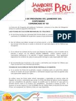 JAMBOREE CENTENARIO - DIRECCIÓN DE PROGRAMA Comunicado N° 3