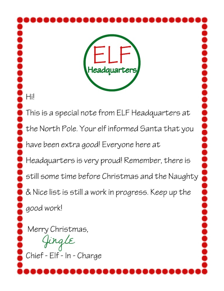Letter From Elf On The Shelf