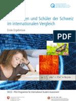Pisa 2009 -  Schülerinnen und Schüler der Schweiz im internationalen Vergleich