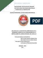 INFLUENCIA DE LA GESTION POR COMPETENCIAS EN EL DESEMPEÑO LABORAL DE LOS TRABAJADORES
