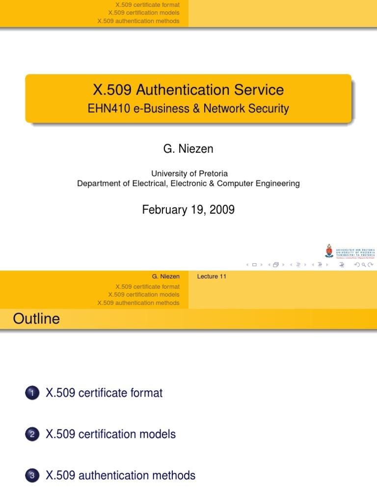 X509 Authentication Service Public Key Cryptography Key
