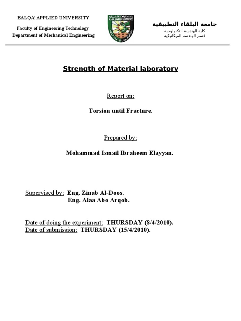 torsion lab report Torsion report this lab report torsion report and other 63,000+ term papers, college essay examples and free essays are available now on reviewessayscom autor: farah diyana • october 29, 2017 • lab report • 4,384 words (18 pages) • 169 views.