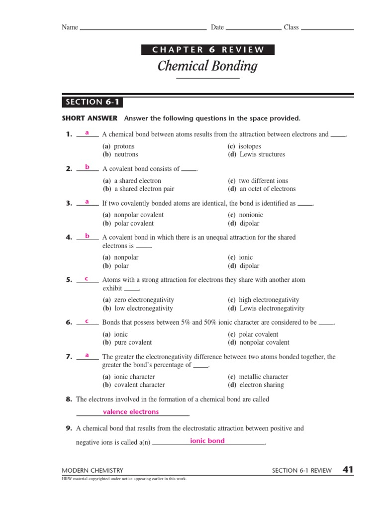 Chemical Bonding Ionic Bonding – Bonding and Chemical Formulas Worksheet Answers