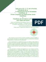 Mensaje al Primer Congreso de Instituciones Libres Cientificas y Filosóficas de la America Latina