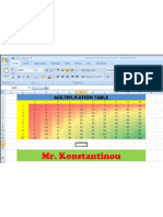 Multiplication Table Excel Sample