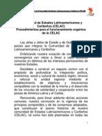 Estatuto de Procedimientos Para El Funcionamiento de CELAC, Caracas, Venezuela 3 de Diciembre de 2011