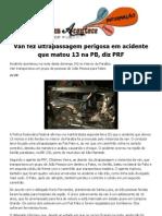Van Fez Ultra Pass a Gem Perigosa Em Acidente Que Matou 13 Na PB, Diz PRF