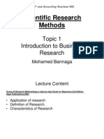 Topic 1 Introduction to Business Research