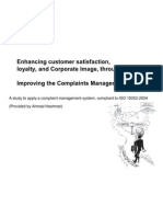 A Study to Apply a Complaint Management System, Compliant to ISO 10002-2004