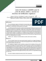 Establecimiento de Tecnicas Confiables Para La Determinacion de Nitrato Nitrito y Amonio en Muestras de Fertilizantes Organicos