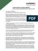 1st World Tourism Forum Lucerne_Kurt Zibung_WTFL 2009