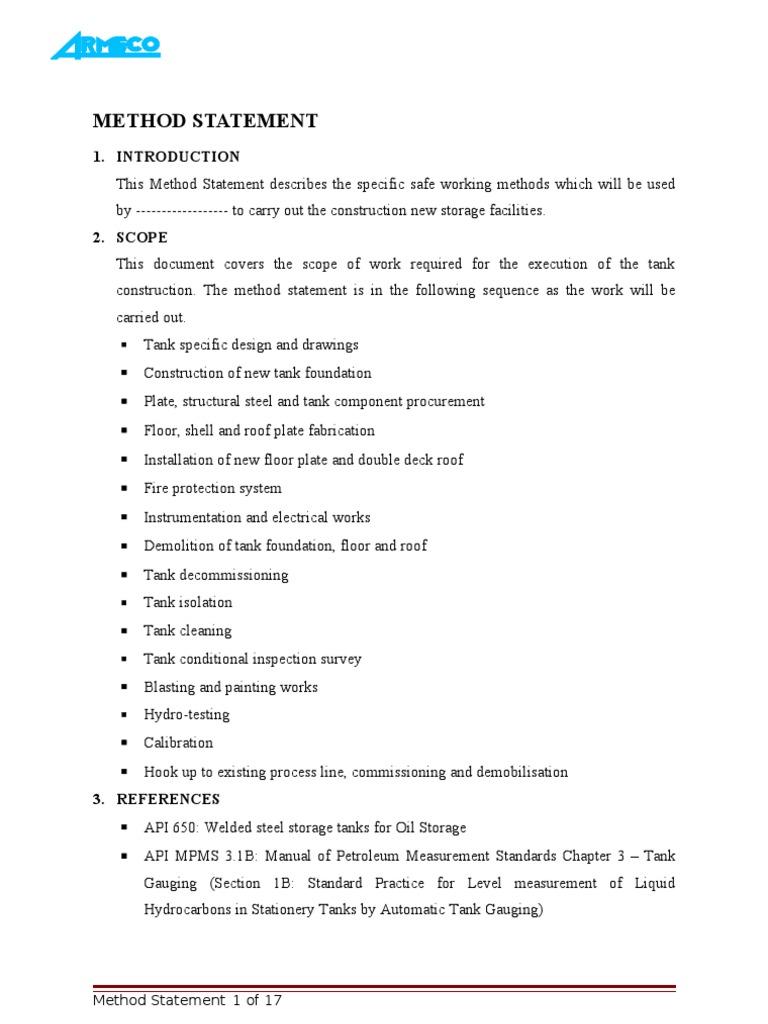 Method Statement Welding – Method Statement Template Doc