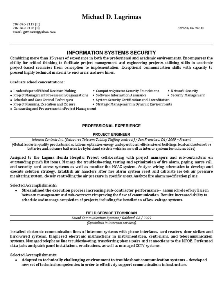 Information systems security manager in benicia ca resume michael information systems security manager in benicia ca resume michael lagrimas project management telecommunication xflitez Images