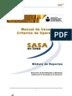 Modulo Reportes SASA en Línea