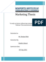 Marketing Thesis on Telecommunication in Pakistan