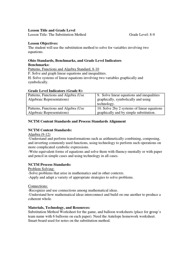 Workbooks substitution method worksheets : Day 3 | National Council Of Teachers Of Mathematics | Equations