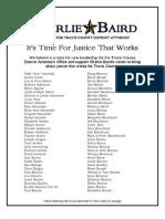 Charlie Baird Supporter List, Revised Dec. 6, 2011