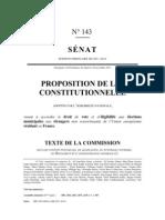 Texte de la proposition de loi relative au Droit de vote des étrangers non communautaires en France