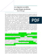 Los orígenes sociales de la psicología moderna - Kurt Danziger