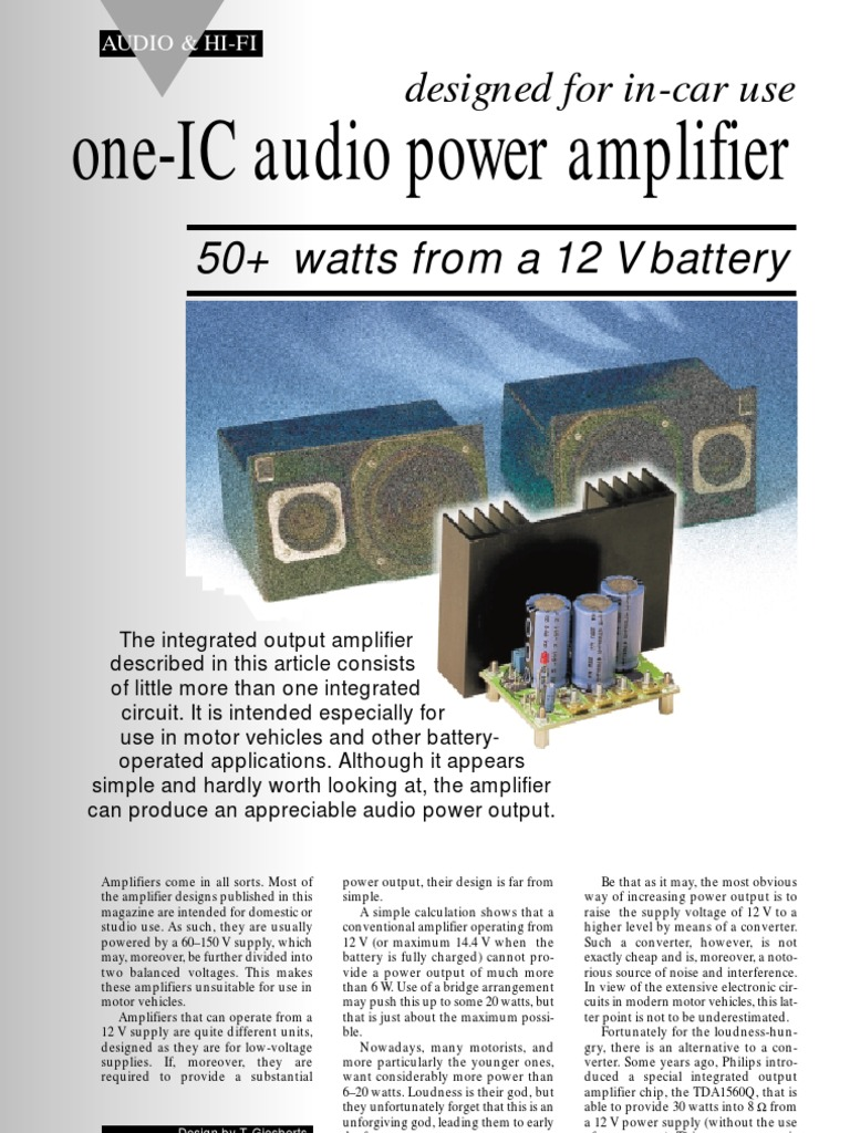 Amplifie Tda1562q Amplifier Integrated Circuit Uses Of