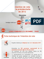 Intention de vote BVA-Le Parisien - déc 2011
