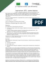Evapotranspiration ET Some Basics