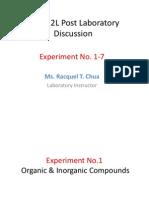 Chem 2L Post Lab Expt 1-7