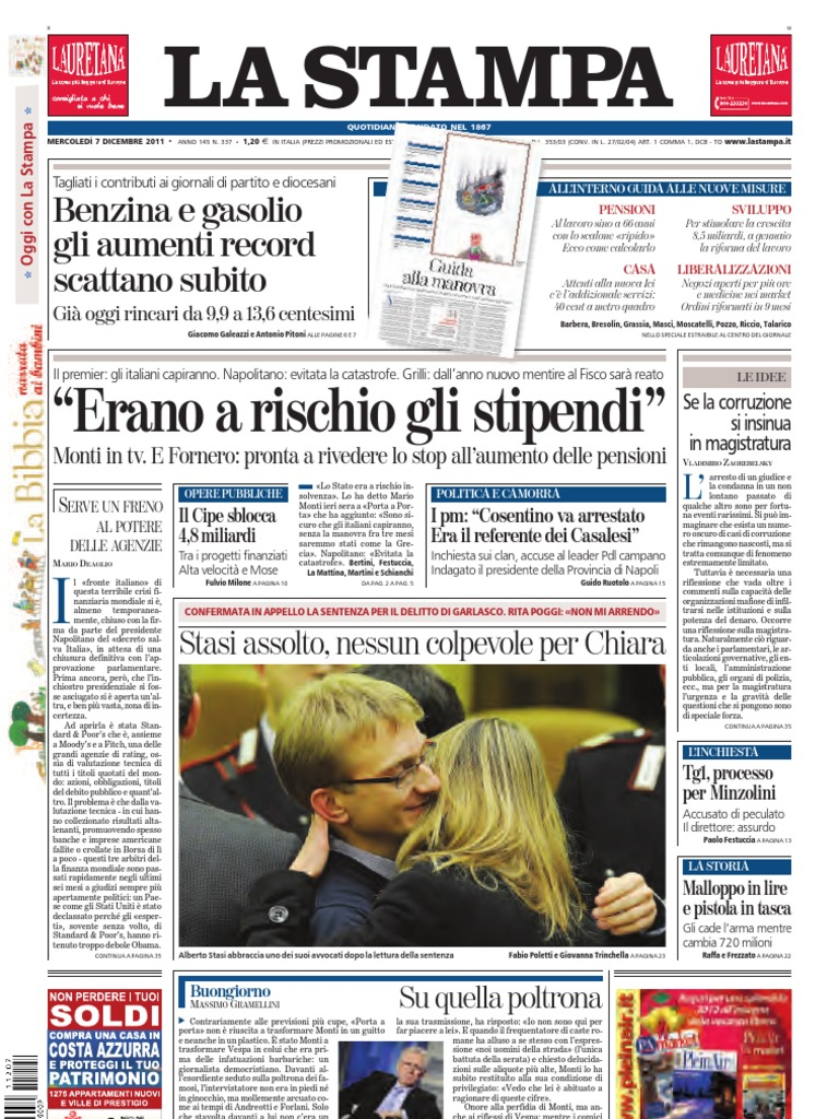 La stampa 07 12 11 | Excise | European Financial Stability