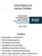 Statistical Basics for Micro Array Studies