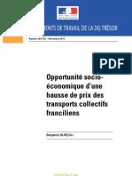Opportunité socioéconomique d'une hausse de prix des transports collectifs franciliens - Etude Direction générale du Trésor