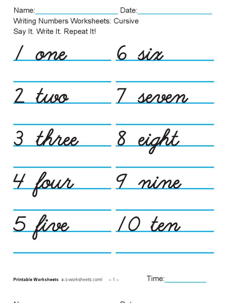 Writing Numbers Worksheets Cusive 1-100
