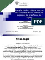 Apropiación Tecnológica usando Recursos Educativos Abiertos  en procesos de Enseñanza del Inglés