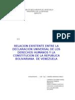 Relacion Entre Los DDHH y La Constitucion de Venezuela