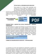 Formas o Alternativas Para La Organizacon de Negocios