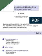 L.J.Mason- The twistor programme and twistor strings