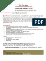 Job Opening Administrative Asst Content Team 2011