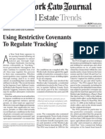 Using Restrictive Covenants To Regulate Fracking by Anthony S. Guardino, September 2011