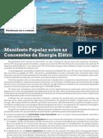 Manifesto Popular sobre as Concessões do Setor Elétrico