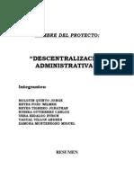 dcentralización administrativa