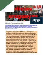 Noticias uruguayas Miércoles 7 de diciembre de 2011