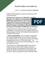 James K. Galbraith Testifies on Sensible Tax Reform