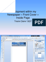 Development within my Newspaper – Front Cover + Inside Page