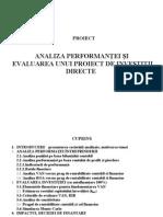 Analiza Performantei Si Evaluarea Unui Proiect de Investitii Directe