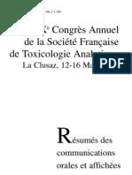 le congrès annuel de la societé francaise de toxicologie analytique