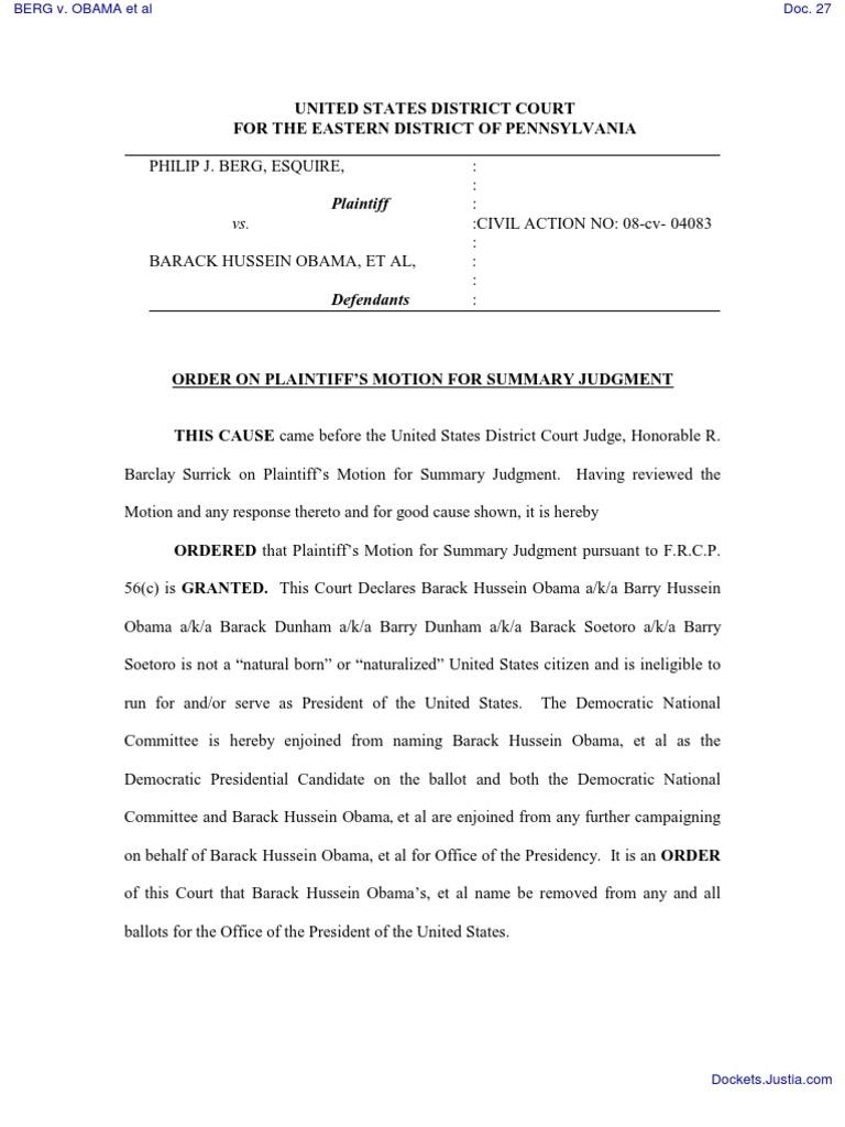 Obama Birth Certificate Lawsuit Federal Rules Of Civil Procedure